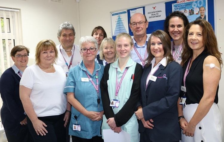 Hospital staff have winter flu vaccination
